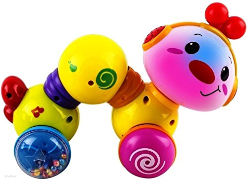 WolVol Musical Press and Crawl Baby Activity Toy - Rolling Rattle Worm w/ Lights & Music - Fine Motor Skills & Fun Learning Crawler for Babies & Kids - Safe and Tested Toy for Toddlers