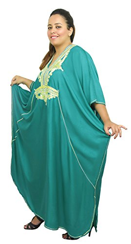 Moroccan Caftan Women Plus size Hand Made Caftan with Embroidery XXL to 4XL Green by Moroccan Caftans (Image #3)