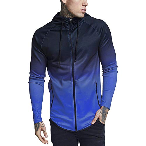 WUAI Men's Jackets Clearance,Casual Slim Fit Gradual Change Pullover Sports Running Hooded Sweatshirt(Blue,US Size M = Tag L) ()
