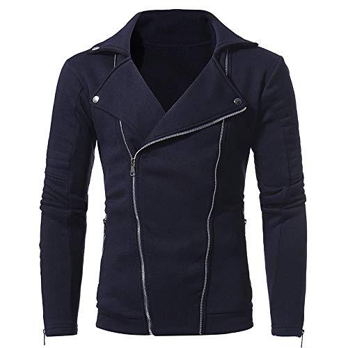 (Mens Autumn Winter Casual Long Sleeve Solid Zipper Turn-Down Collar Jacket Tops Navy)