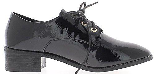 ChaussMoi Donna di Derby Nera Verniciato Lacci e impianti di risalita a 4cm