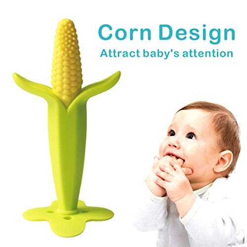Gupamiga Baby Toothbrush Baby Teether Infant Toothbrush Corn Teether BPA Free, Non-Toxic, Soft, for Boys & GirlsToddler