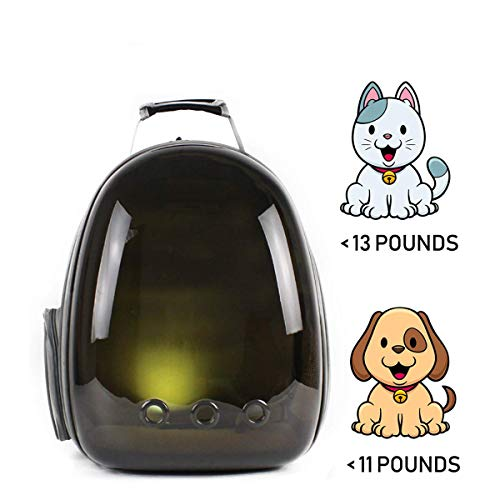 C&W Innovative Traveler Bubble Backpack Pet Carriers for Cats and Dogs Polarized Transparency Anti-Glare & UV Protection Waterproof Brown