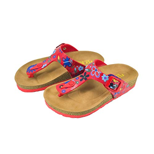 Floral Leather Thong Sandal - Victoria Kids Casual Buckle Thong T-Strap Sandals Flip Flop Platform Footbed Trends Shoes (1 US, Red Floral)