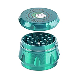 Green Monkey Herb Grinder Green - 50mm - 4 Piece Baboon Crown Series Spice Grinder - Magnetic Lid Screen Catcher - Spice Mill - Metal Grinder - Spice Herb Grinder