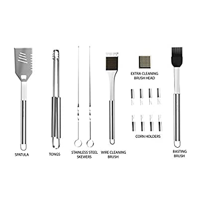 BBQ Grill Tool Set- 16 Piece Stainless Steel Barbecue Grilling Accessories with Aluminum Case, Spatula, Tongs, Skewers (Premium pack) from Home-Complete.