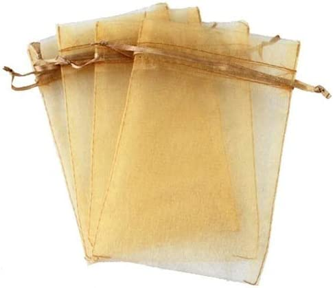 DOXMAL 25PCS Organza Drawstring Pouches Wedding Favor Bags Gift Bags for Party Wedding Jewellery Bags Gold 9x6