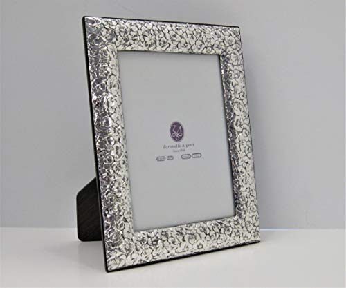 FINE ITALIAN 925 SILVER SILVER & WOOD ORNATE FLORAL 5 X 7 PICTURE FRAME
