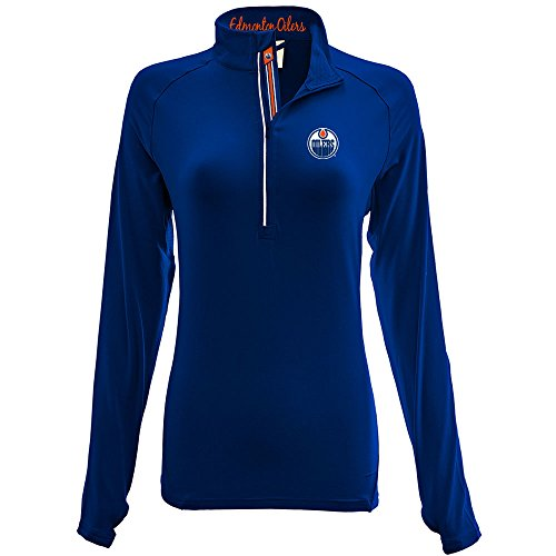 - Levelwear LEY9R NHL Edmonton Oilers Adult Women Energy Banner Stripe Half Zip Mid-Layer, Small, Royal Blue