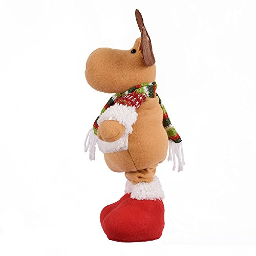 Christmas Decorations Plush Telescopic Doll Xmas Santa Claus Elk Snowman Party Toys Decor Home Indoor Table Fireplace Shelf Sitter Figurine Ornament Gifts (Elk)