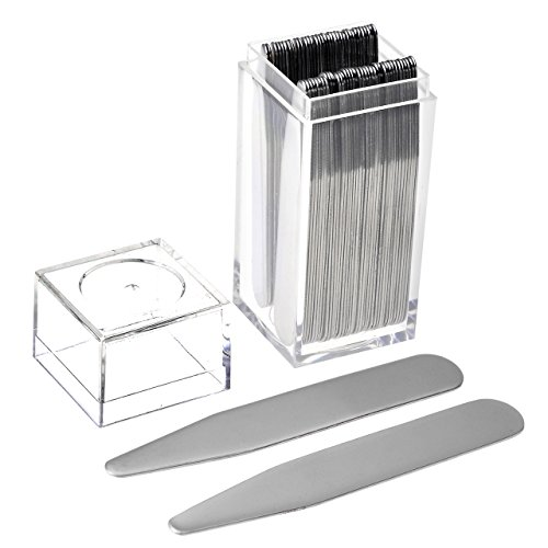 JOVIVI 36pc Stainless Steel Collar Stays in Clear Plastic Box For Mens Dress Shirt, Order the Sizes You Need (2.5