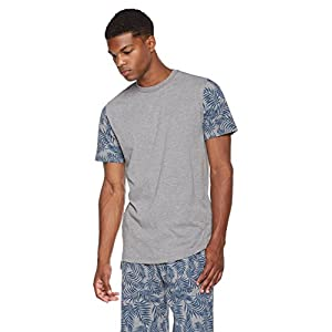 Rebel Canyon Young Men's Longline Crewneck Cotton Jersey Printed Sleeve T-Shirt Large Med. Grey Heather