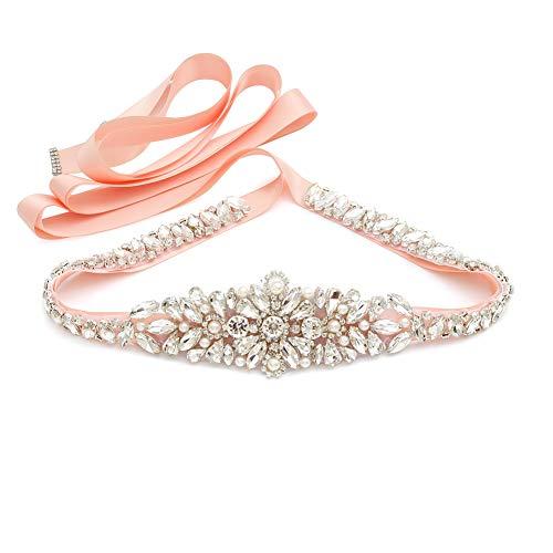 (Yanstar Blush Pink Thin Full Length Wedding Bridal Belts and Sash Silver Rhinestone Crystal Pearl Belt Blush Ribbon for Bridesmaid Prom Gowns)