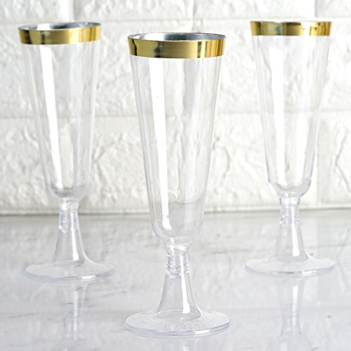 BalsaCircle 24 pcs 12 oz Clear with Gold Rim Plastic Champagne Flutes Glasses - Disposable Wedding Party Catering Tableware