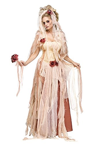 Fun World Women's Adult Ghostly Bride Costume, White, Small]()
