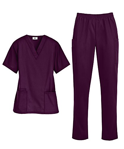 Women's Medical Uniform Scrub Set - Includes V-Neck Top and Elastic Pant (XS-3X, 14 Colors) (XX-Large, Wine)