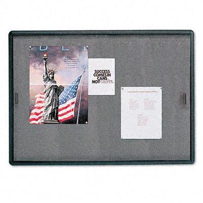 Enclosed Bulletin Board, Fabric/Cork/Glass, 48 x 36, GY, Aluminum Frame