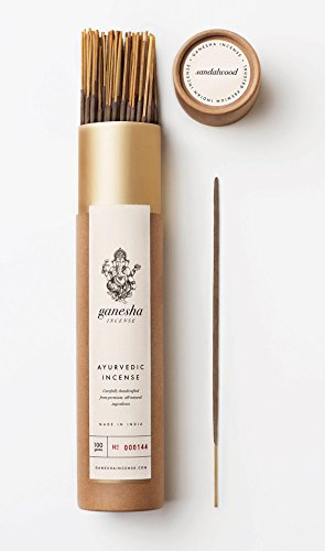 Ganesha Incense Sandalwood Gold by 80+ Premium Natural Ayurvedic Incense Sticks (100g ~3.5oz) Made in India by Artisan Incense Makers - incensecentral.us