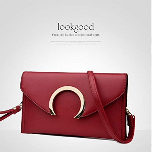 Women Evening Wristlet Red Envelope Leather for Clutch Purse Crossbody Bag 858rqnBz