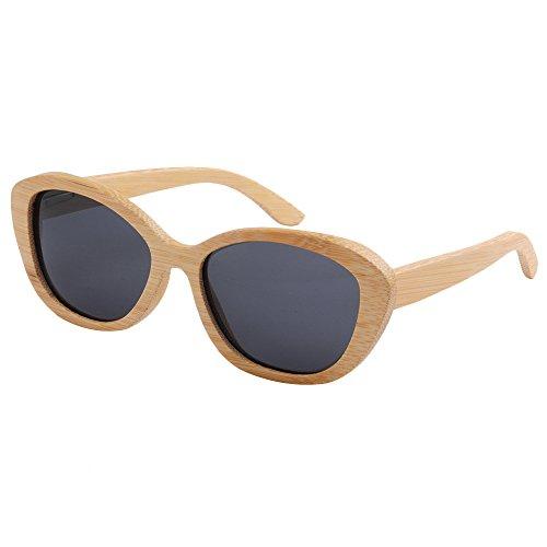 Playa Sol de conducción Sol Protección UV TAC Lente de Peggy Mano Gafas Madera polarizada Ojos de Retro los Marco Hombres Hechos Gato de de Pesca de a Gu Libre Gafas Gris Aire de de al SxtAp4