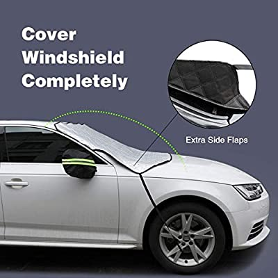 Power Tiger CAR ACCESSORIES Windshield Sunshade Cover Summer Sun Cover with 2 Mirror Cover Wind-Proof Keeps Vehicle Cool Front Window Sun Shade Fits Most Vehicle Large Size(76