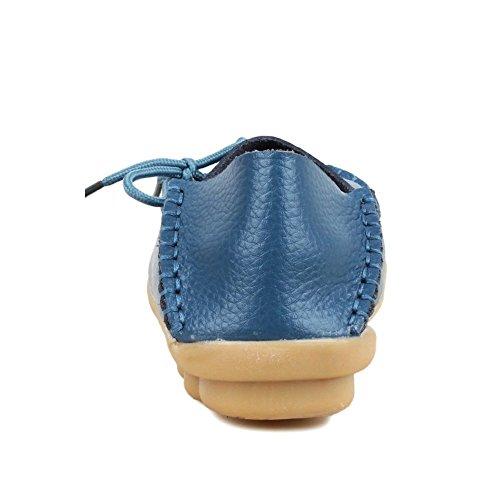 Mocassini Da Donna Marroni Scarpe Da Guida Pelle Bovina Casual Mocassini Allacciati Mocassini Slip-on Scarpe Blu
