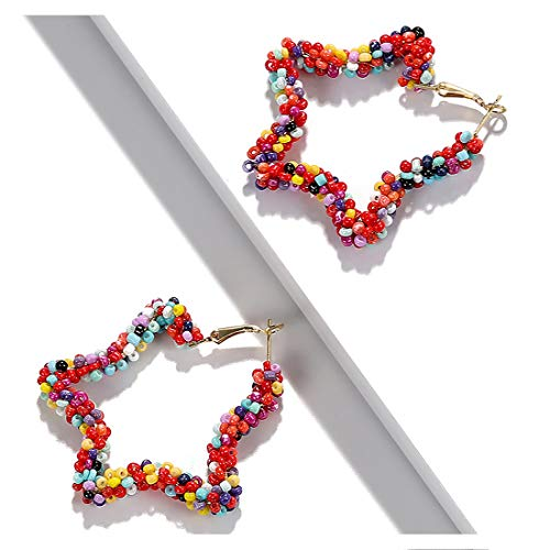 - Dvacaman Statement Hoop Earrings for Women - Fashion Acrylic Natural Stone Wood Drop Earrings for Women Jewelry (Color Stars)