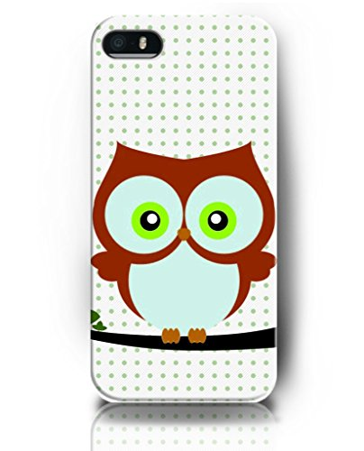 iPhone 5S Case, UKASE Apple iPhone 5 5S Durable Back Cover Utral Slim Case ( Lovely Owl and Green Polka Dots)