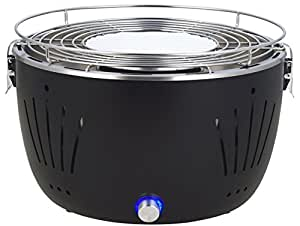 Barbacoa de carbón vegetal Broszio negra, libre de humos, con ventilación activa y bolsa. Superficie de la parrilla: 31cm, barbacoa para la terraza y el balcón.