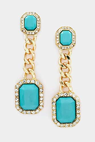 Karmas Canvas Crystal with Square Dangle Chain Earring (Mint) (Small Hoop Trifari Gold)
