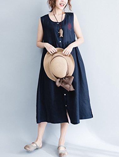 Vogstyle - Vestido - Sin tirantes - Básico - Cuello redondo - Sin mangas - para mujer Style 2 Noir