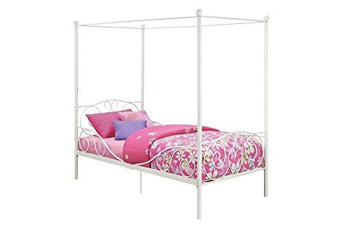dhp canopy bed with sturdy bed frame metal twin size white buy online in uae furniture. Black Bedroom Furniture Sets. Home Design Ideas