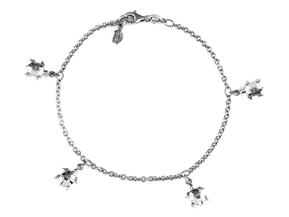 10 Inches 5 Turtles Ankle Bracelet in 925 Sterling Silver Finejewelers 460148