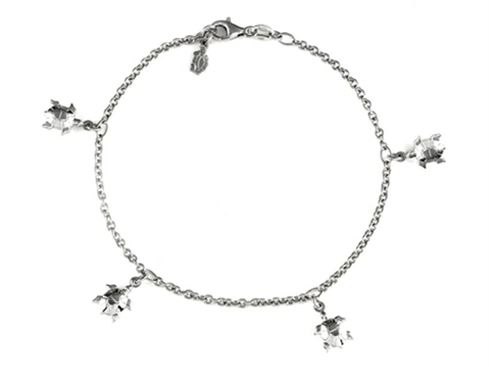 Finejewelers 10 Inches 5 Turtles Ankle Bracelet Sterling Silver