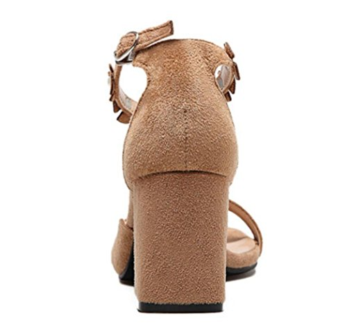 Tondo Chunky in Capo Heel Alti Grosso New Sandals Tacco Casual Velluto LINYI Khaki Tacchi x86w5