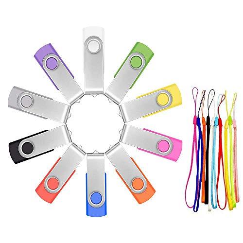 Bulk 16GB USB Flash Drive Pack of 10 Thumb Drives - Portable Zip Drive Multi-Coloured USB 2.0 Memory Stick - FEBNISCTE Swivel Multi-Pack Jump Drives Pendrive with LED Light