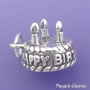 925 Sterling Silver 3-D Happy Birthday Cake with Candles Charm Pendant - lp2447 Jewelry Making Supply, Pendant, Charms, Bracelet, DIY Crafting by Wholesale Charms