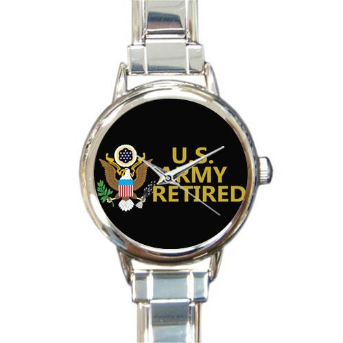 Hot Sale Watch US Army Retired Emblem Round Italian Charm stainless steel Watch