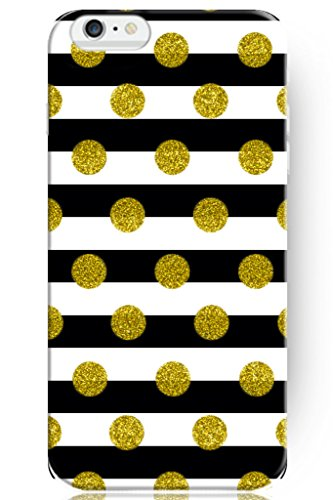 Hard Protective Apple Iphone 6 6s Plus Case Cover 5.5 Inch Gold Polka Dots on Black and White Stripes