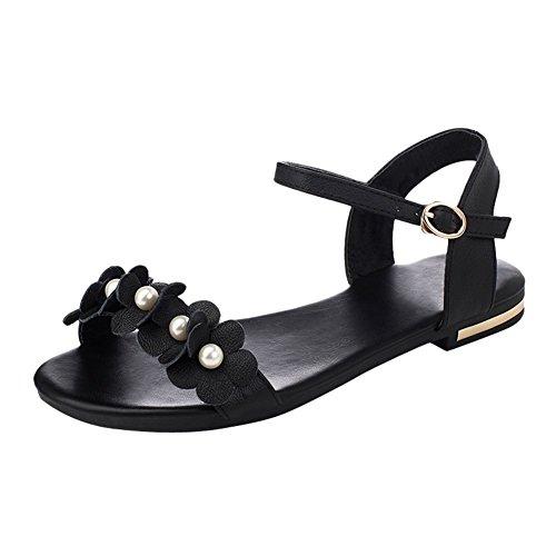 Charm Foot Womens Beaded Ankle Strap Low Heel Open Toe Flats Sandal Black IVq1yBhtRF
