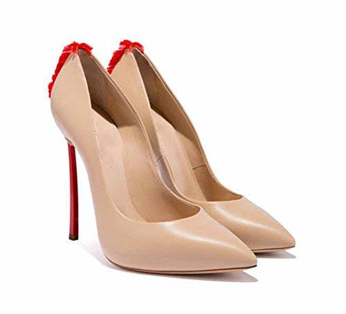 Femmes Chaussures 2018 Nouvelle Mode Pompes Fleurs Talons Hauts Chaussures Simples Taille 34-43 Beige okXN9