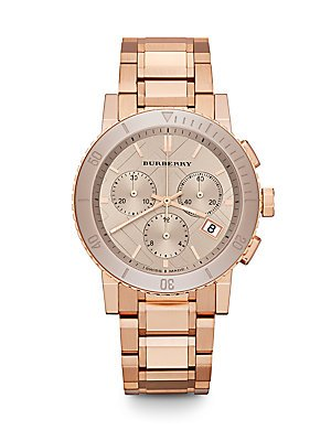 Burberry Rose Gold-Finished Stainless Steel Chronograph Bracelet Watch - Rose Gold
