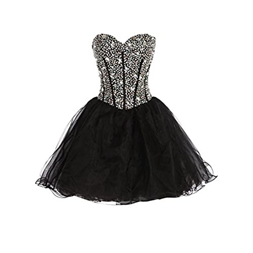 Exlinalesha Sexy short prom dresses for women Beaded Prom Gowns EE001 Black