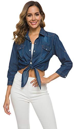 Women's Roll Up Sleeves Crop Tie Top Denim Shawl Jeans Shirt Dark Blue, XX-Large ()