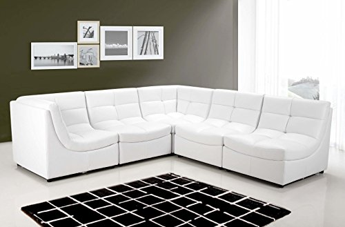 White Sectional Sofa Set Couch Bonded Leather Armless Chairs Corners Ottoman Couch Comfort Modern Living Room Furniture