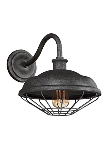 Feiss WB1829SGM Lennex Outdoor Patio Lighting Vintage Wall Lantern, Iron, 1-Light (12