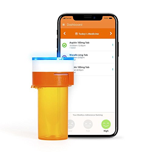 Medikyu - The Smart Pill Bottle That Remembers for You - Pill Tracker and Reminder, for Medication and Vitamin, Bluetooth, Smartphone App, Easy to Set (Orange Bottle)