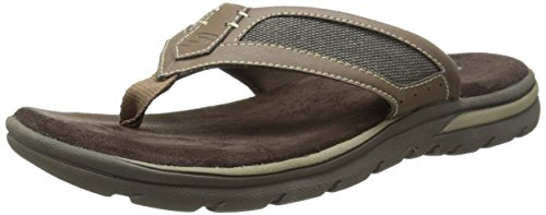 Skechers USA Men's Bosnia Flip-Flop,Light Brown,8 M US
