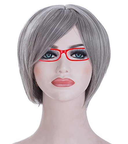 Spretty Short Petite Silver Grey Straight Bob Hair for Women's Daily Dress and Cosplay Use