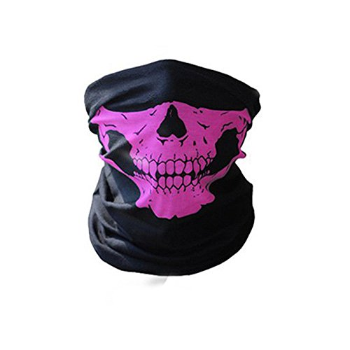 Outdoor Face Masks,ECLEAR Seamless Skull Half Face Tube Mask Headwear for Motorcycle Hiking Cycling Ski Snowboard - - Boards Running Pink